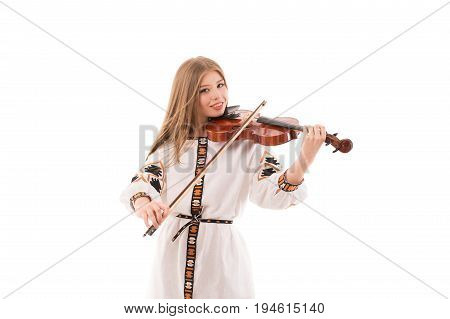 Young woman in ukrainian folk costume with violin isolated on white background