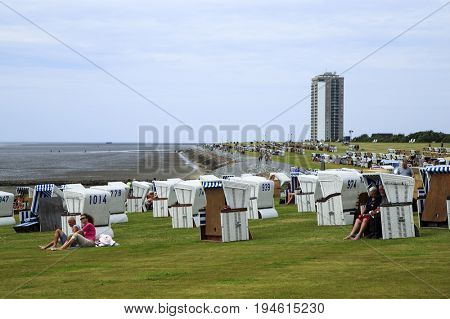 BUESUM, GERMANY - JUNE 15, 2017: Visiting Büsum famous fishing and tourist town situated on North Sea coast, Germany on June 15, 2017.