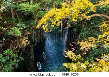 Takachiho gorge and waterfall in Miyazaki