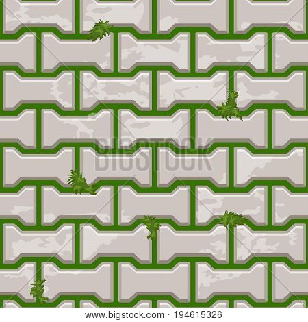 Gray Concrete H shaped paving slabs surface on grass. Vector Seamless texture backgrounds