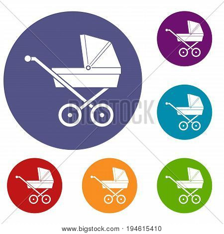 Baby carriage icons set in flat circle reb, blue and green color for web