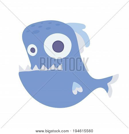 Cute sea toothy fish. Vector illustration, isolated on white background.