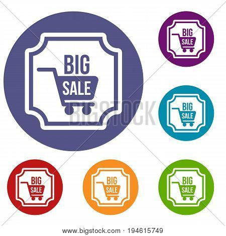 Big sale sticker icons set in flat circle reb, blue and green color for web