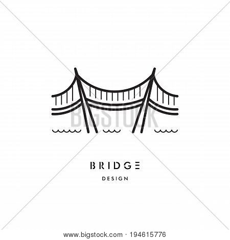 A logo with a picture of a suspension bridge on steel ropes. Vector logo of the bridge isolated on white background