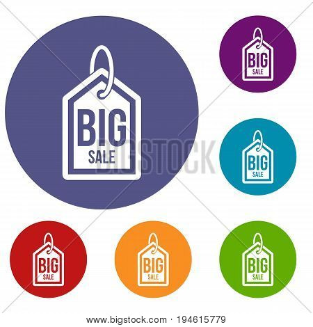 Big sale tag icons set in flat circle reb, blue and green color for web