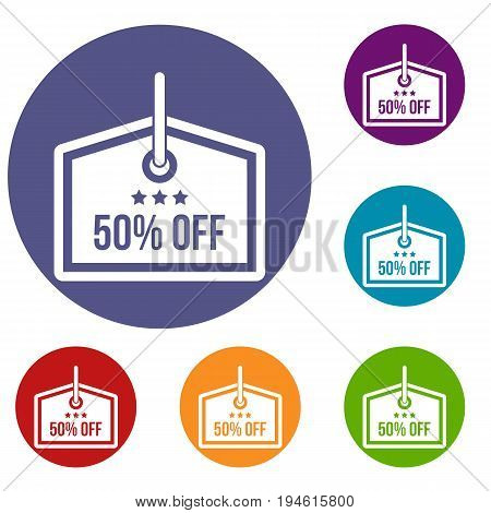 Sale tag 50 percent off icons set in flat circle reb, blue and green color for web