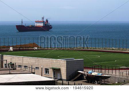 football field on the sea in Vladivostok
