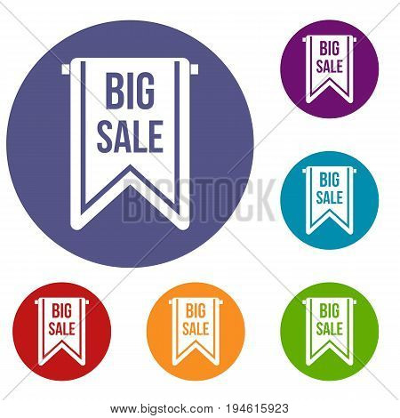 Big sale banner icons set in flat circle reb, blue and green color for web