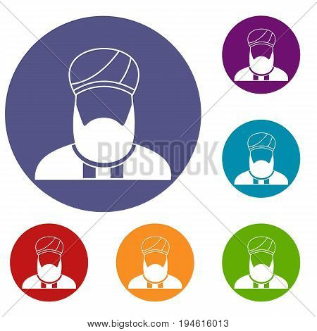Muslim preacher icons set in flat circle reb, blue and green color for web