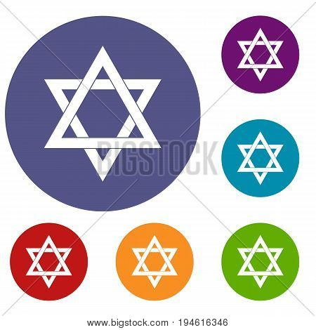 Star of David icons set in flat circle reb, blue and green color for web