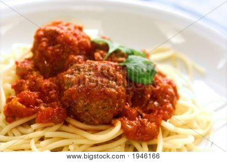 Plate Of Meatball In Tomato Sauce With Spaghetti