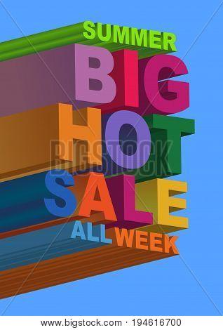 Summer sale. 3D style letters. Vector illustration.