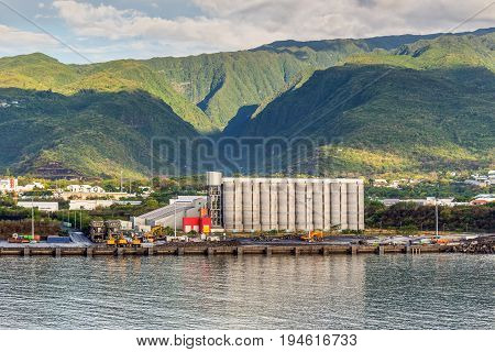 Le Port Reunion Island France - December 24 2015: Large grain elevator (Cereal terminal) on the island of La Reunion a French overseas department in the south-western Indian Ocean.