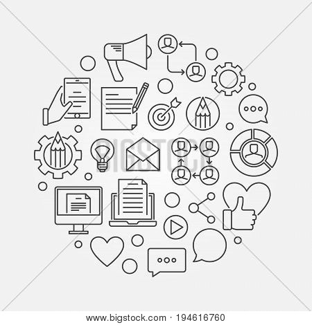 Blogging concept illustration. Vector blog round symbol in thin line style