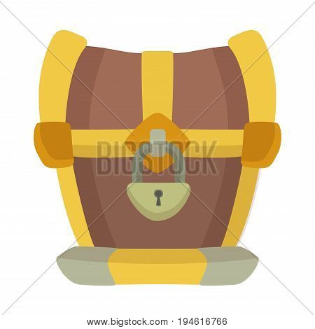 Closed chest with metal padlock. Vector illustration isolated on white background.