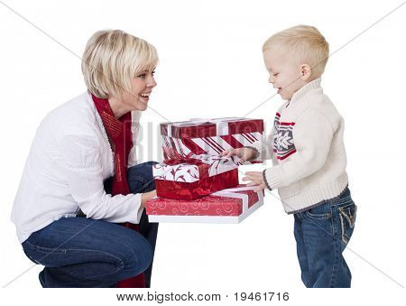 Mother Giving Christmas Presents to her Child