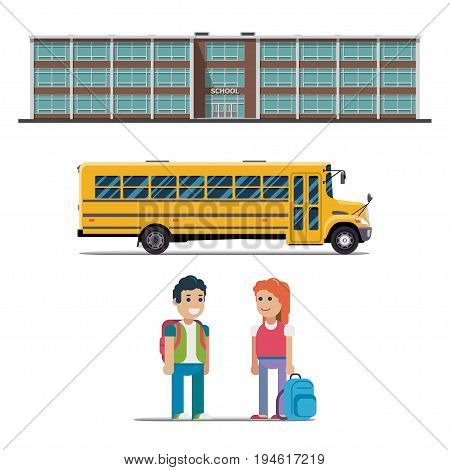 school bus school bus and schoolchild vector illustration on white background