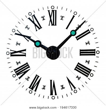 Front view of vintage clock dial with Roman numerals isolated on white.