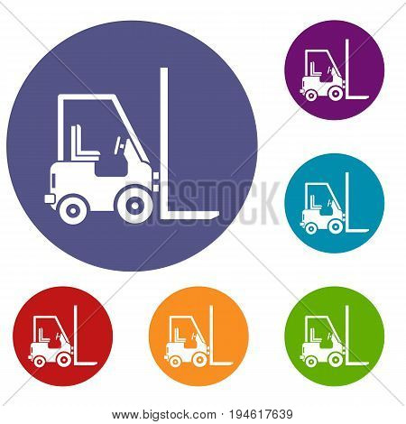 Stacker loader icons set in flat circle reb, blue and green color for web