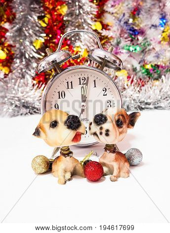Alarm clock on Christmas Background time to Christmas