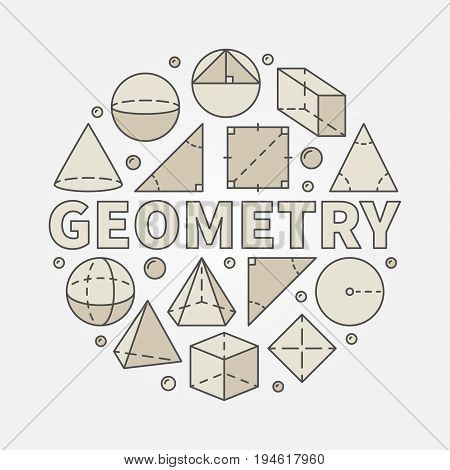 Colorful geometry illustration - vector circular symbol made with geometric shapes and word GEOMETRY in center