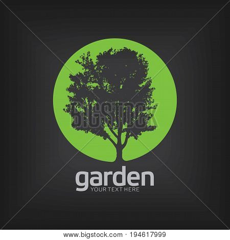 Garden Design Template Poster with words your text here on black background vector illustration