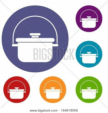 Cooking cauldron icons set in flat circle reb, blue and green color for web