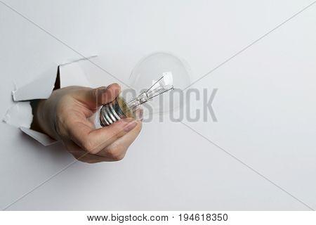 Female Hand Holding Light Bulb On White Background.
