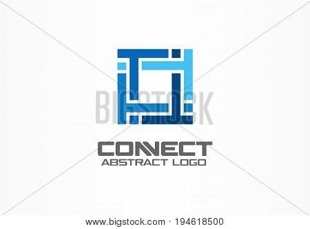 Abstract logo for business company. Corporate identity design element. Puzzle solution, finance, bank logotype idea. Square group, network integrate, technology mix concept. Color Vector connect icon