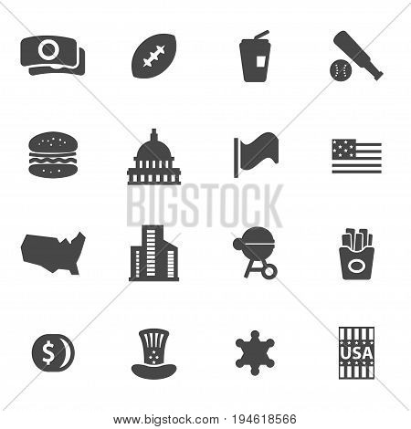 Vector black usa icons set on white background
