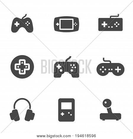 Vector black video game icons set on white background