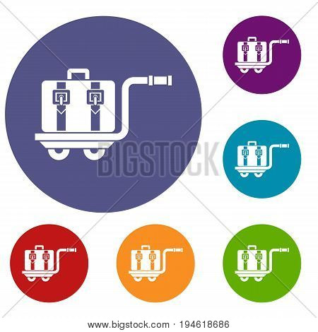 Baggage cart icons set in flat circle reb, blue and green color for web