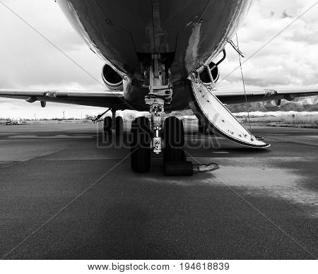 Landing gear of a Private Jet- Front View