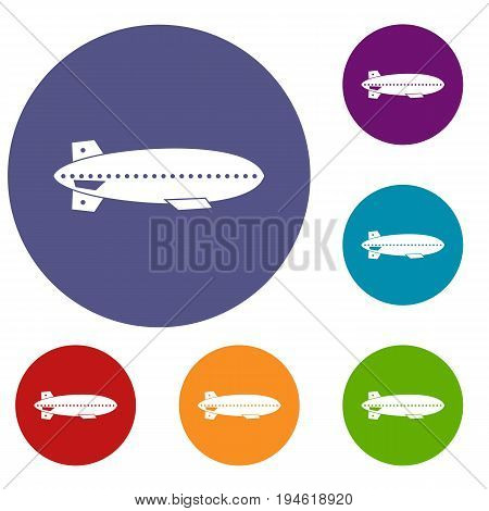 Dirigible balloon icons set in flat circle reb, blue and green color for web
