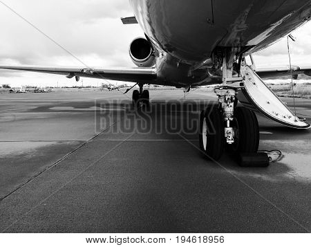 Landing gear of a Private Jet - Front View.