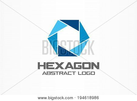 Abstract logo for business company. Corporate identity design element. Camera diaphragm, shutter, focus, photo studio logotype idea. Connect, mix, integrated hexagon concept. Colorful Vector icon