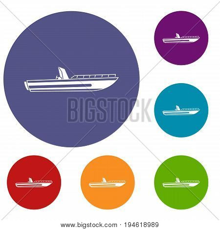 Motor speed boat icons set in flat circle reb, blue and green color for web