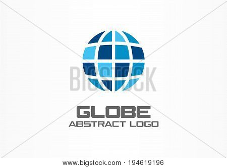 Abstract logo for business company. Corporate identity design element. Internet technology, Network, distribution, bank, world map logotype idea. Globe travel, planet Earth concept. Color Vector icon