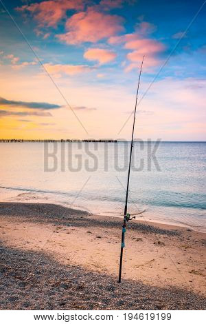 Fishing from the beach at Rapid bay foreshore Fleurieu Peninsula South Australia