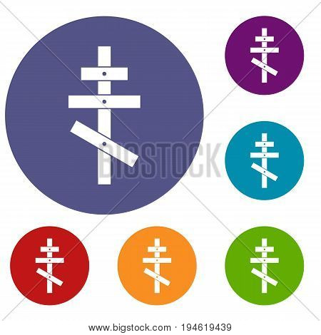 Orthodox cross icons set in flat circle reb, blue and green color for web