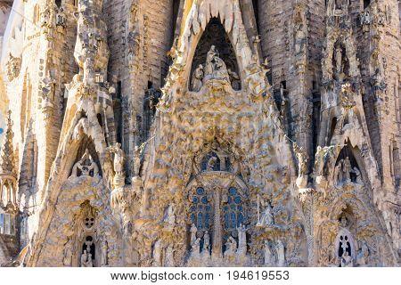 BARCELONA SPAIN - February 9, 2017: Sagrada Familia in Barcelona Spain.