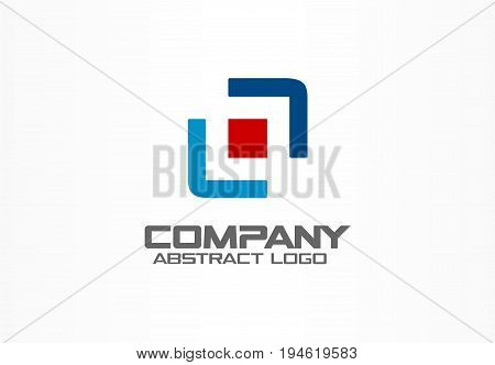 Abstract business company logo. Corporate identity design element. Camera focus, frame center, distribution logotype idea. Square, integrate technology, logistic concept. Color Vector connect icon