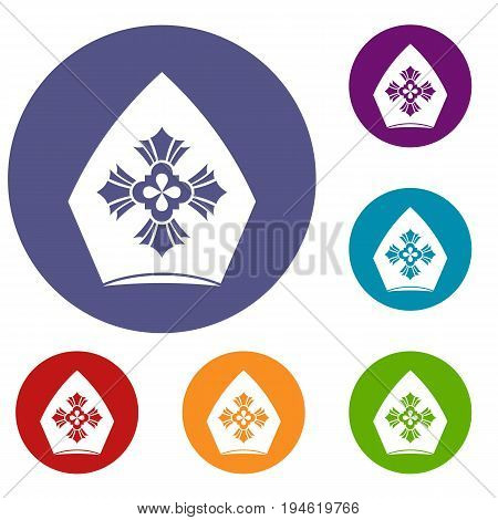Christian hat icons set in flat circle reb, blue and green color for web