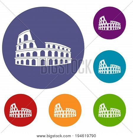 Roman Colosseum icons set in flat circle reb, blue and green color for web