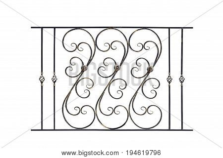 Decorative wrought banisters fence in old style. Isolated over white background.