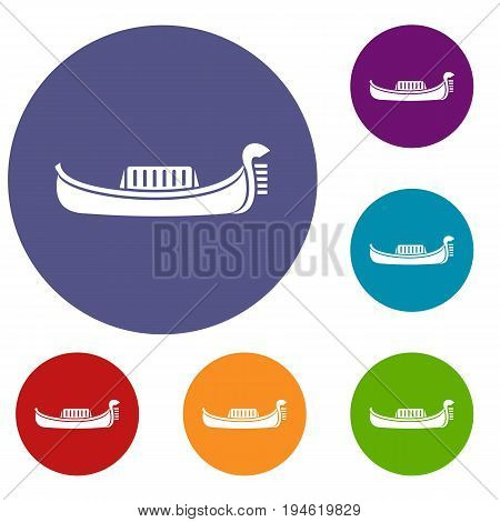 Venice gondola icons set in flat circle reb, blue and green color for web