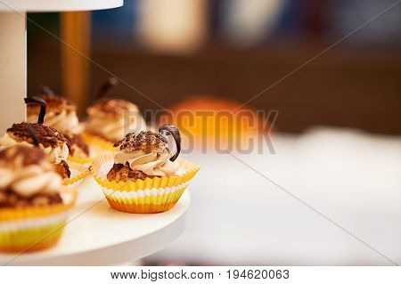 Cropped close up of delicious caramel vanilla cupcakes decorated with cream and chocolate copyspace food eating dessert concept.