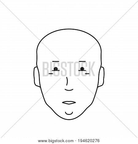 Icon bald head with face, vector illustration