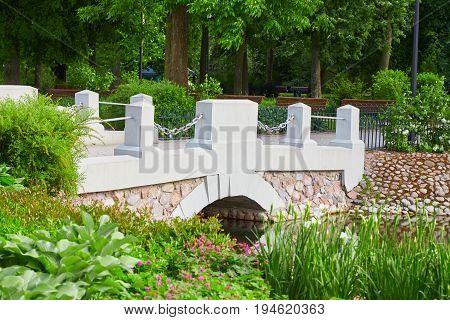 Bridge over water in the Bernardine Garden in Vilnius