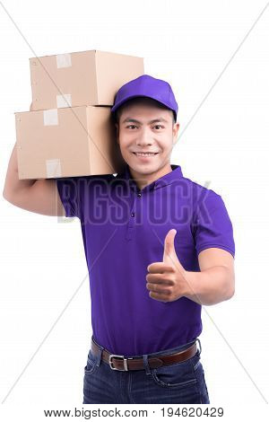 Delivery Person. Asian Postman With Parcel Box Thumps Up.